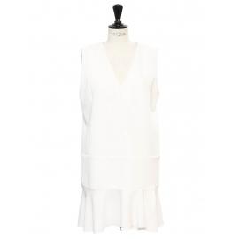 Robe charleston sans manche col V en crêpe blanc ivoire NEUVE Prix boutique 340€ Taille 40