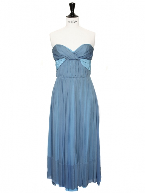 BERTILLE Turquoise and light blue silk crepe strapless dress Retail price €2400 Size 38