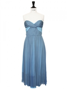 Turquoise and light blue silk crêpe strapless dress Retail price 2400€ Size 36