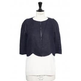 Veste courte boléro découpe scallop toucher lin bleu marine Prix boutique 1100€ Taille 36