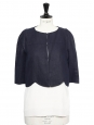 Navy blue linen touch short bolero jacket Retail price €1100 Size 36
