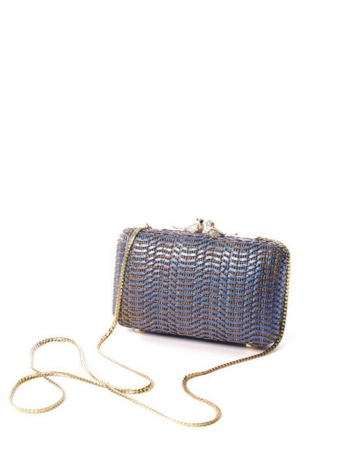 Camel and blue clutch bag with bird clasp Retail price €250
