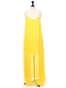 Citrus yellow chiffon spaghetti strap long dress Retail price €395 Size 36