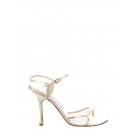 Sandales à talon et brides fines en cuir doré Prix boutique 500€ Taille 39,5