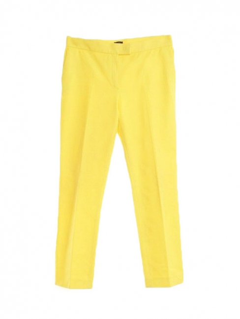 Pantalon tailleur FINLEY en gabardine de coton jaune vif Prix boutique 300€ Taille 38