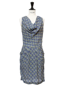 Green, blue and yellow printed silk sleeveless dress Retail price €275 Size 34