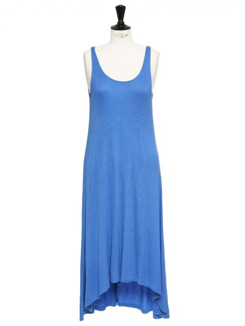 Robe longue dos nu en jersey côtelé bleu océan Taille 36