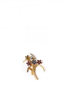 Broche bouquet de fleurs en laiton doré et pierres cristal rouge rose, bleu et jaune