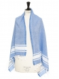 White and blue cotton scarf