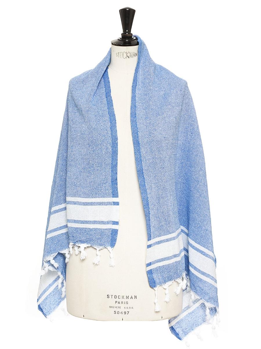 7e7c362cfdd0e Louise Paris - Echarpe en coton bleu et blanc