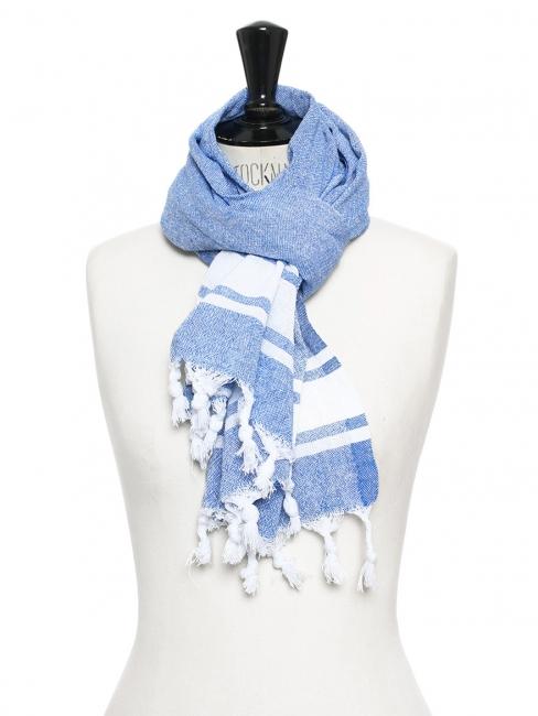 Echarpe en coton bleu et blanc