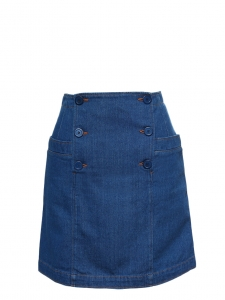 Indigo blue button-front denim skirt Retail price $150 Size 36