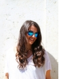 Lunettes de soleil verres miroir monture bleu fluo NEUVES