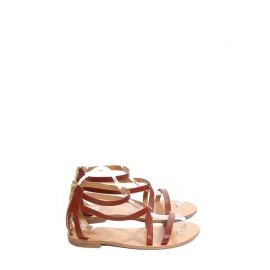 Brown leather strappy sandals with zip fastening Size 41