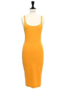 Robe mi-longue à bretelles en jersey jaune abricot Taille 34