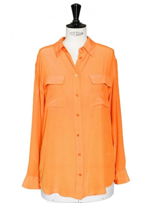 Chemise SIGNATURE manches longues en soie orange Px boutique 220€ Taille S