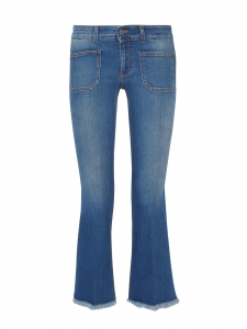 Light blue cropped low-rise bootcut jeans Retail price €275 Size S