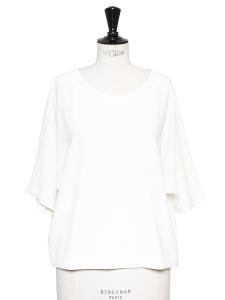 Top manches courtes col rond en crêpe blanc Prix boutique 125€ Taille 36
