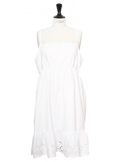 Robe d'été à bretelles fines en coton blanc et dentelle Taille 42