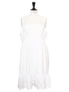 Embroidered white cotton spaghetti strap dress Size 38/40
