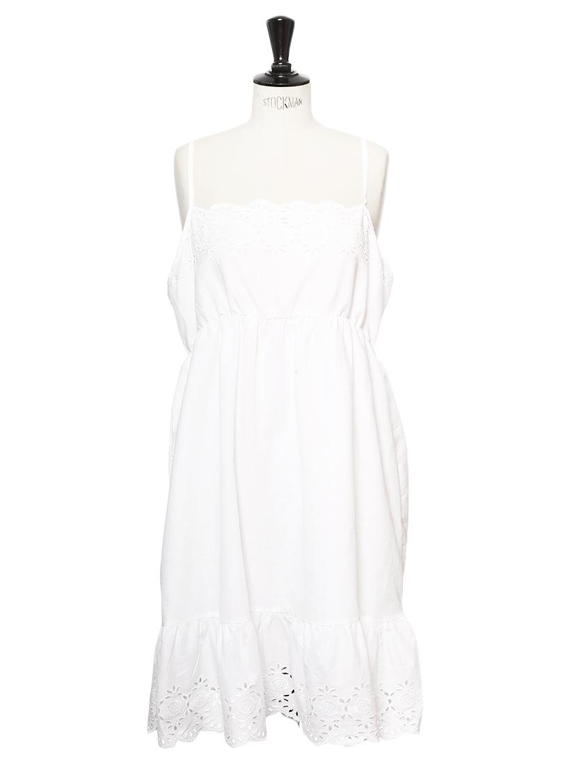 Louise Paris Vintage Robe D Ete A Bretelles Fines En Coton Blanc Et Dentelle Taille 42