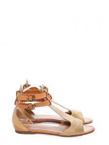 Sandales plates bout ouvert en cuir embossé doré et caramel Px boutique 480€ Taille 38