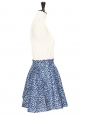 Janet high-waist skater blue black and white neopren printed skirt Size 36