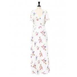 Robe longue blanche imprimée fleuri rouge bleu et vert, ceinture ruban Taille 36/38