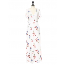 White décolleté maxi dress printed with green, blue and red flowers Size 36/38