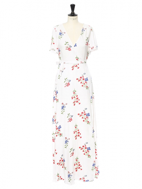 f3c64222814 Louise Paris - White décolleté maxi dress printed with green, blue and red  flowers Size 36/38