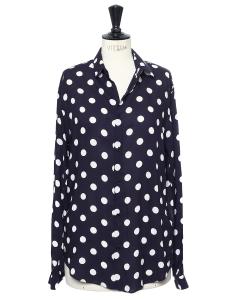 Chemise en rayonne bleu nuit imprimée gros pois blancs Px boutique 200€ Taille M
