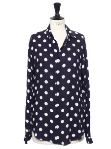 Midnight blue and white polka dot printed rayon shirt Retail price €200 Size M