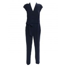 Midnight blue crepe V décolleté short sleeved jumpsuit Retail price €250 Size M