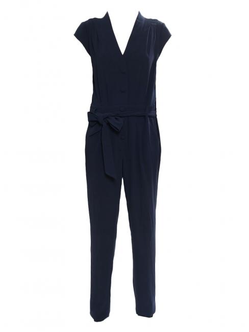 Combi-pantalon manches courtes décolleté V en crêpe bleu nuit Prix boutique 250€ Taille M