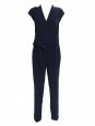 Midnight blue crepe V décolleté short sleeved jumpsuit Retail price €250 Size M