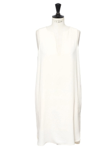 Sleeveless ivory white crepe slit neck dress Retail price €195 Size 38