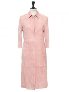 Manteau veste longue en suède rose dragée Px boutique 3000€ Taille 36