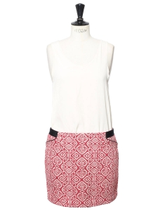Light red and beige embroidered organic cotton mini skirt retail price €115 Size 38/40