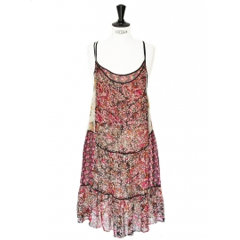 Mid-length red pink and yellow floral print silk chiffon dress with thin straps Size 36