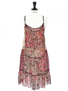 Robe à fines bretelles en mousseline de soie fleurie rose rouge et jaune Taille 36/38