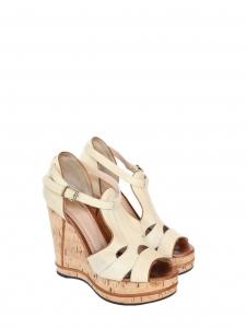 Sandales compensées SHIRLEY en liège et cuir beige Px boutique 625€ Taille 37