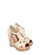 Sandales compensées SHIRLEY en liège et cuir beige Prix boutique 625€ Taille 37
