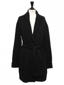 Gilet ceinturé en grosse maille de pure laine vierge noir Prix boutique 350€ Taille M