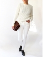 LINA PINEAPPLE Cream white chunky open-knit sweater Retail price €240 Size S
