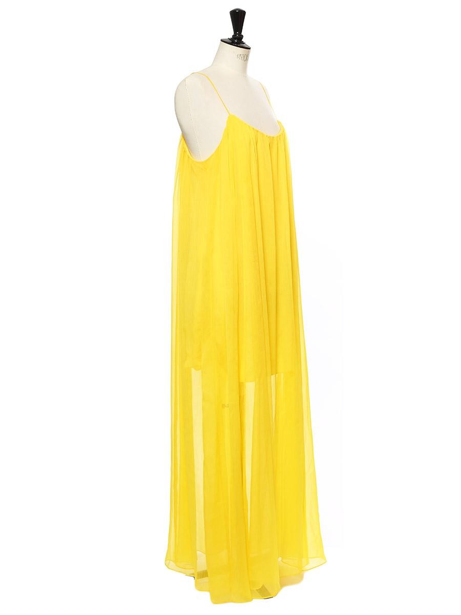 52eb4de52c4 ... Citrus yellow chiffon spaghetti strap long dress Retail price €395 Size  36 ...