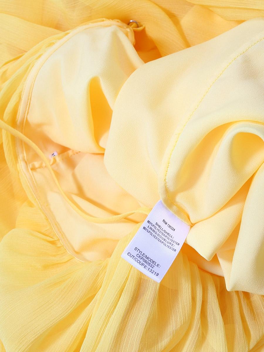 dc1a0de44d6 ... Citrus yellow chiffon spaghetti strap long dress Retail price €395 Size  36