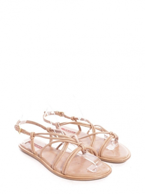 747acc34d3cb Louise Paris - PRADA Pink beige leather flat strappy sandals Retail ...