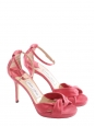 Sandales Macy en suede rose et cuir boucle cheville cristal Px boutique 580€ Taille 36