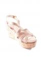 Sandales compensées à plateforme en liège et suede beige rosé Prix boutique 550€ Taille 37,5