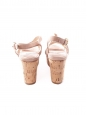 Beige pink suede and cork wedge sandals Retail price €550 Size 37.5